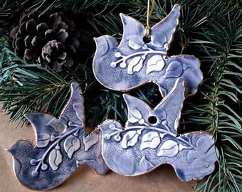 THREE Ceramic Dove Christmas Ornaments Wedding favors Baptism favors Denim blue edged in gold   Wholesale  available