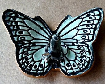 Ceramic Butterfly Ring Holders pale Sea green edged in gold