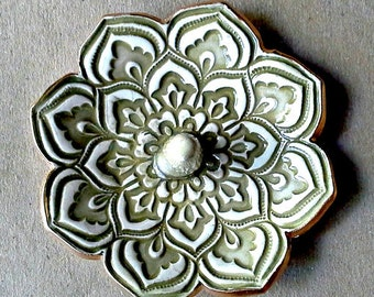 Sage Green Ceramic Lotus Ring Holder  Ring Dish Ring bowl  gold edged