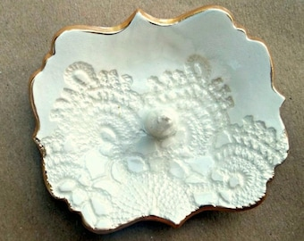 Ceramic OFF WHITE lace ring holder  3 3/4 inches long