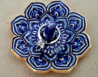 Ceramic Cobalt Blue Lotus Ring Holder Ring Dish  gold edged