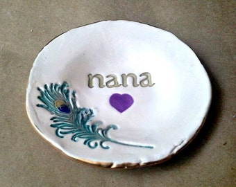 Ceramic Peacock Feather Ring Dish Trinket Dish 4  inches round NANA  Mothers day   Wholesale  available