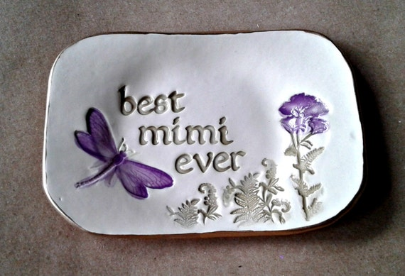 Ceramic MIMI Ring Holder Ring Bowl Ring Dish Trinket Dish edged in gold MIMI  Mothers day   Wholesale  available