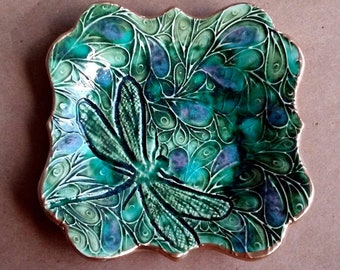 Ceramic Trinket Dish Jewelry tray Dish Soap Peacock Green with Dragonfly  edged in gold   Wholesale  available