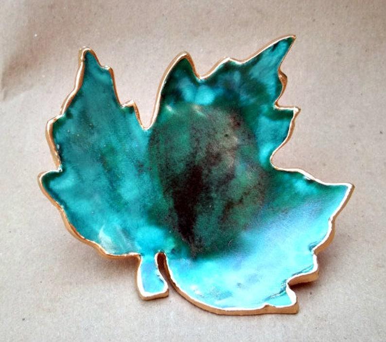 Ceramic Trinket Dish Ring Dish Soap Dish sponge holderLeaf malachite green edged in gold   Wholesale  available
