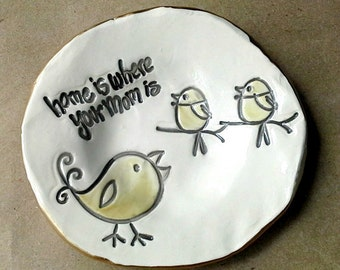 Ceramic mom Trinket Bowl  Ring holder Bowl edged in gold