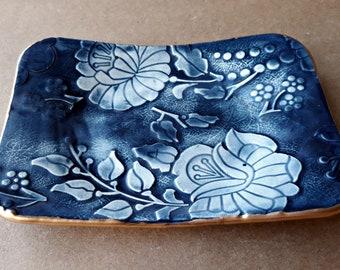 Ceramic Navy Damask Trinket  Dish   Wholesale  available