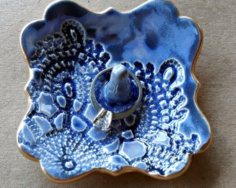 Ceramic Denim Blue Ring Holder Dish lace edged in gold ring holder   Wholesale  available