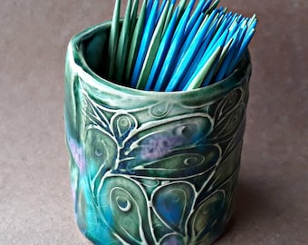 Ceramic Tooth Pick Holder 2 inch tall   Peacock Green Color   Wholesale  available