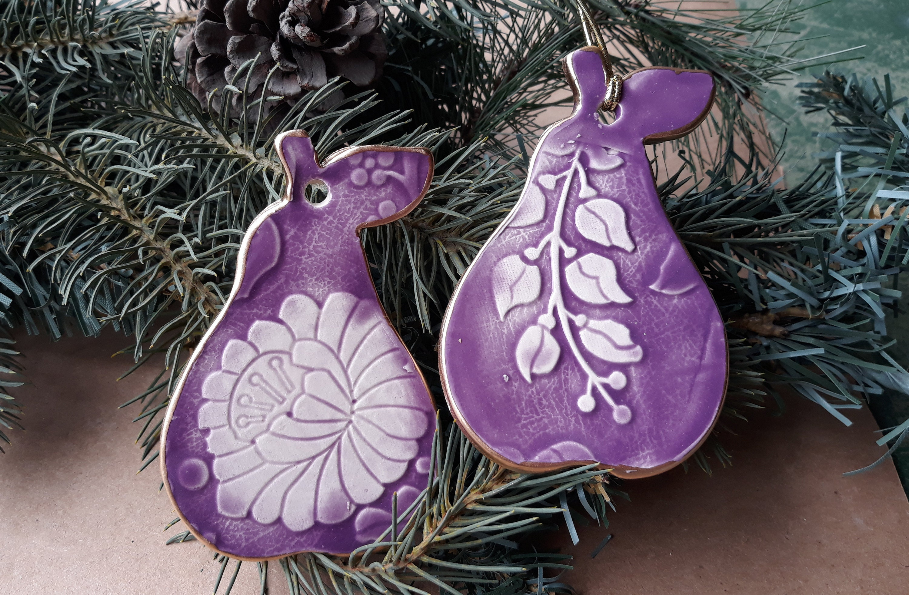 TWO Ceramic Pear Christmas Ornaments Holiday Decor Purple ...