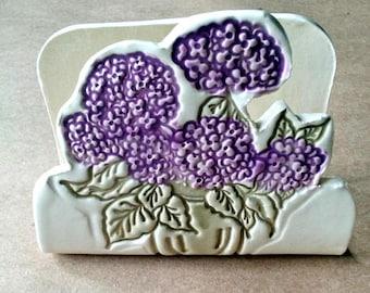 Ceramic Purple Hydrangea Sponge Holder recipe card holder Kitchen    Wholesale  available