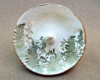 Ceramic Ring Holder Ring Bowl  Ring Dish Ferns edged in gold