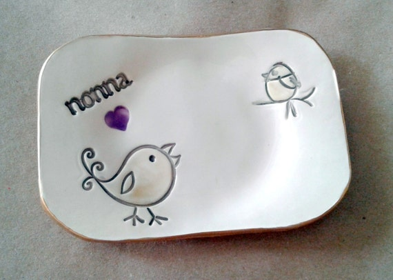 Ceramic nonna Ring Dish  Trinket Bowl  edged in gold  Mothers day   Wholesale  available
