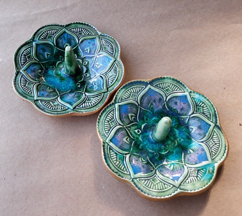 SALE set TWO Ceramic Mandala Ring Holder Ring Dish Peacock Green with blue  Wholesale  available