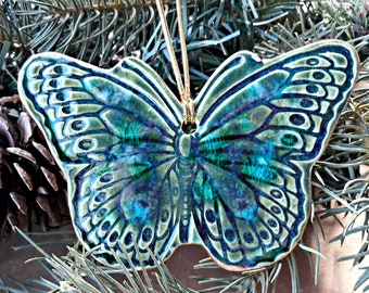 Ceramic Butterfly Christmas Ornament Peacock Green with blue edged in Gold Wall Hanging  Wholesale  available