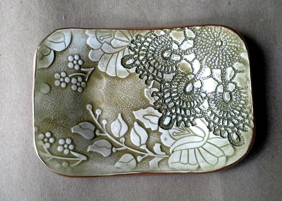 Ceramic Trinket Dish Sage Green Edged In Gold Wholesale Etsy