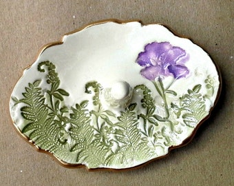 Ceramic Ring Holder Ring Dish Purple flower and ferns edged in gold   Wholesale  available