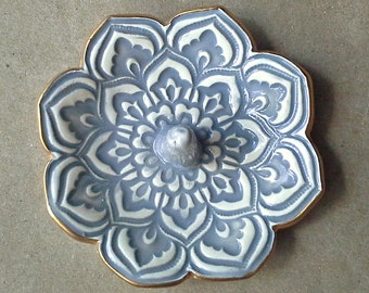 Gray Lotus Ceramic Ring Holder  Ring Bowl 3 1/4 inches  round gold edged   Wholesale  available