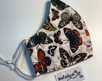 Butterflies Butterfly Cloth Reusable Cotton Face Mask with Adjustable Elastic Ear Loops - Triple Layer Polypropylene