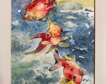 Goldfish Dance 8x10 Original Watercolour Watercolor Framed Goldfish Fish Painting by Erika Tavascia from Guelph