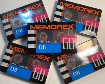 Vintage Retro Memorex Cassette Tapes new in package old stock