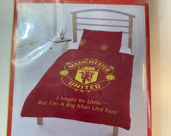 Vintage Manchester United Man Utd Junior Bedding Set Duvet Cover and pillowcase new in package old stock