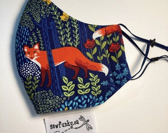 Face Mask Fox Masks Cloth Mask Into the Woods Navy Forest Cloth Reusable Cotton Face Mask with Adjustable Elastic Ear Loops - Triple Layer