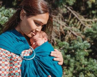 Baby Sling Ring Sling Linen Sling Sewfunky Pre-softened  100% Linen Ring Sling Baby Sling Babywearing Teal
