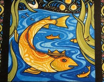 Julie Paschkis Fish Quilt Panel In The Beginning Fabrics
