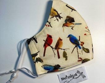 Wild Birds Cardinal Cloth Reusable Cotton Face Mask with Adjustable Elastic Ear Loops - Triple Layer Polypropylene