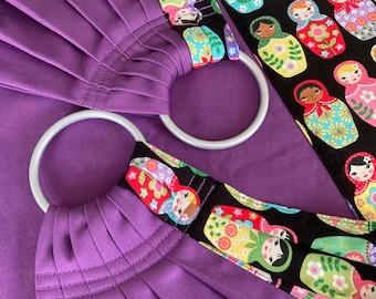Weigh Sling by Sewfunky Designer Midwifery Weigh Sling Nesting Dolls Matryoshka on Violet Organic Cotton Twill Homebirth Midwife