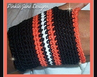 PDF PATTERN Womens SZ Biker Chic Black and Orange Crochet Fingerless Gloves