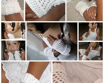 Mom and Daughter Summer Whites Crochet Fingerless Gloves PDF Pattern Mini eBook
