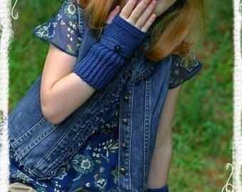PDF PATTERN Blue Denim Fingerless Gloves Crochet Childs Size