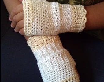 PDF File Cream 'n' Sugar Crochet Fingerless Gloves Pattern Girls Teens Ladies sizes Included Wristwarmers Wedding Portraits Pageant Holiday