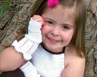 PDF PATTERN White Ruffle Crochet Fingerless Gloves CHILDs Size