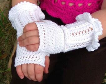 Mother and Daughter 2 PDF PATTERNS White Ruffle Crochet Fingerless Gloves Mini eBook