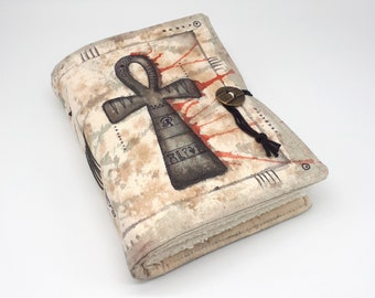 Ankh, Handmade journal, one of a kind, painted canvas