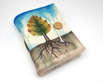 Leaftree, Handmade journal, one of a kind, painted canvas