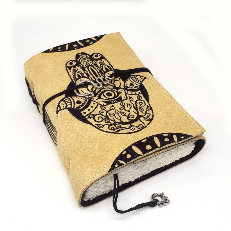 Hamsa Handmade Leather Journal Notebook image 0