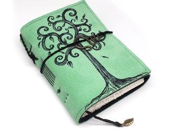 Swirl Tree, Handmade Leather Journal, Notebook