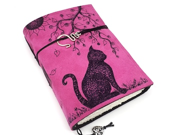 Cat, Handmade Leather Journal, Notebook