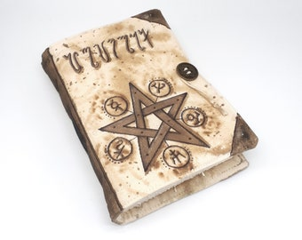 Grimoire, Handmade journal, one of a kind, painted canvas