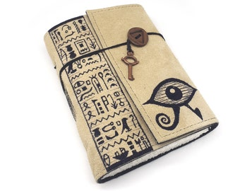 Horus Eye, Handmade Leather Journal, Egyptian Notebook
