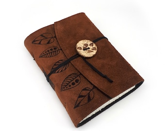 Leaves, Handmade Leather Journal, Notebook
