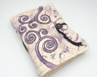 Purple Swirls, Handmade journal, one of a kind, painted canvas