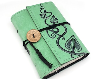 Leaves, Handmade Suede Leather Journal