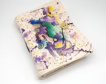 Creative Chaos, Handmade journal, one of a kind, painted canvas