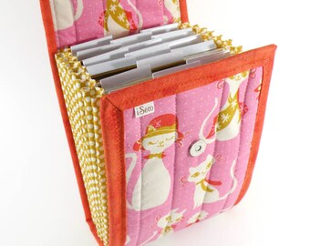 Circular Needle Case - Pretty Kitty - Needle Holder Needle Wallet Circular Needle Organizer Organiser Retro Pink Orange Cat Sixties
