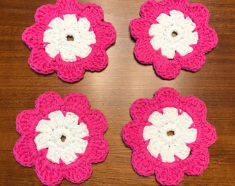 Hot Pink Flower Crocheted Coasters